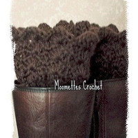 NEW Handmade Crochet Chocolate Brown Leg Warmers Boot Cuffs Chunky Socks