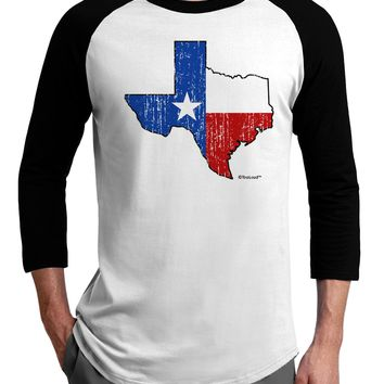 State of Texas Flag Design - Distressed Adult Raglan Shirt