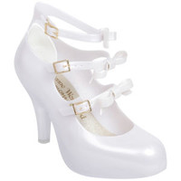 VIVIENNE WESTWOOD FOR MELISSA WOMEN'S 3 STRAP ELEVATED BOW HEELS - PEARL