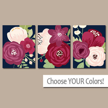 Flower Wall Art, Navy Maroon Flower, Flower CANVAS or Print, Flower Prints, Navy Plum Bedroom Pictures, Floral Bathroom Decor, Set of 3