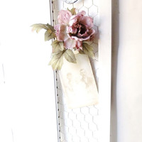 Vintage Wood Shabby Prim Shutter.  Bulletin Board. Jewelry Display. Craft Show Organizer. Altered. Cottage Decor