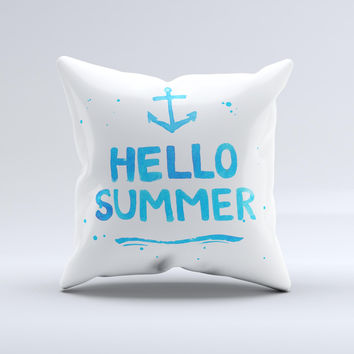 The Hello Summer Blue Watercolor Anchor V1 ink-Fuzed Decorative Throw Pillow