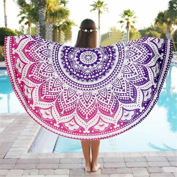 Lotus Flower Beach Throw Beach Mat Cover Up Round Beach Pool Home Blanket Table Cloth Yoga Mat India Mandala Tapestry Bohemia
