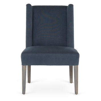Campbell Linen Side Chair, Navy, Side Chairs