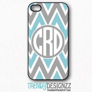 Personalized iPhone case, Samsung S3 S4, Monogram iPhone 4 case, iPhone 5 case, iPhone 4s cover, Gray Blue Chevron Zigzag Cover (1233)