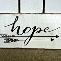 HOPE Rustic Wooden Sign / Bohemian Decor / Vintage Distressed Sign
