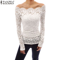Off Shoulder, Slash Neck, Lace Crochet, Long Sleeve, Slim Casual Tops