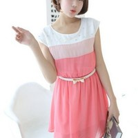Kawaii Lolita Slim Fit Chiffon Bead Dress - Pink or Green - M L from Tobi's Finds
