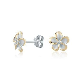 Sterling Silver with Yellow Gold and CZ Accent 8mm Plumeria Stud Earrings