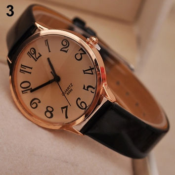 Stylish New Leather Strap Big Digit Analog Quartz Wrist Watch = 1956447364