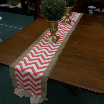 Burlap and Coral Chevron Table Runner, Tablecloth, burlap table covering, placemat, wedding shower, Bridal shower