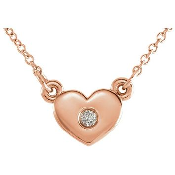 "14K Rose Gold Birthstone Petite Heart Pendant 16"" Necklace"