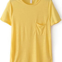 Yellow Short Sleeve Pocket T-Shirt