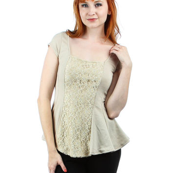 MOCHA LYSS LOO PEPLUM TOP WITH LACE FRONT
