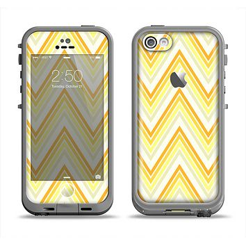 The Sharp Vintage Yellow Chevron Apple iPhone 5c LifeProof Fre Case Skin Set