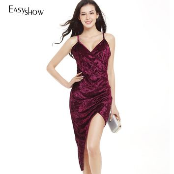 Explosion Swan Pleuche V Lead Crossing Irregular Camisole Sexy Package Hip dress