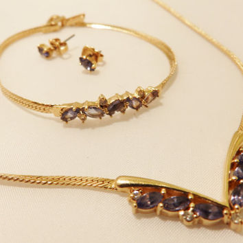 Gold Tone Purple Stone Vintage Avon Jewelry Set
