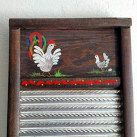 Vintage Handpainted Washboard | Roosters | Kitchen Decor  | Country Chic | Rustic Decoration | Chicken gift ideas | Farm Decor | Cabin Decor