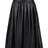 Black PU High Waist Pleat Skirt - Choies.com