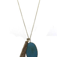NECKLACE / OVAL NATURAL STONE / CHAIN TASSEL PENDANT / CRYSTAL STONE / METAL SETTING / LINK / 28 INCH LONG / 2 1/2 INCH DROP / NICKEL AND LEAD COMPLIANT