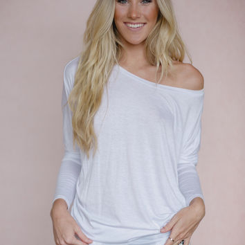 Off-The-Shoulder Dolman Top in White
