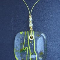 Spring Green Confetti & Streamers fused glass pendant with glass beads on coated wire