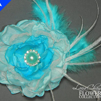 Bridal Blue Flower Hair Clip, Bridal Flower Fascinator, Wedding Blue Flower Head Piece, Bridal Flower Accessory, Blue Feather Flower Bride