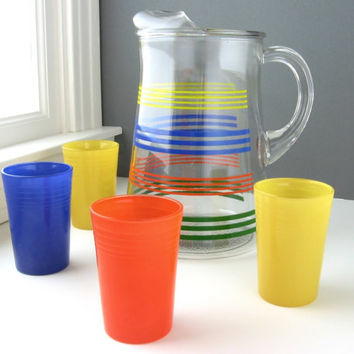 Vintage Painted Glass Pitcher with Rainbow Painted Juice Glasses Set of Four / Primary Colors / Orange, Yellow, Blue, and Green