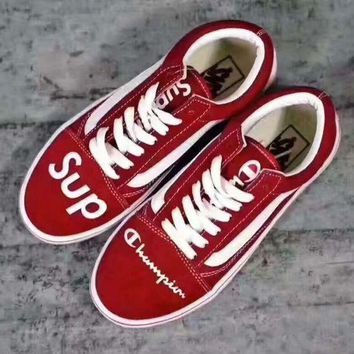 DCCKBWS vans+champion+supreme' Fashion Women/man Running Sport Casual Shoes Sneakers red