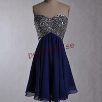 Dark Royal Blue Beaded Short Prom Dresses with Peacock Neckline,Bridesmaid Dresses ,Wedding Party Dresses,Party dresses,Homecoming Dresses