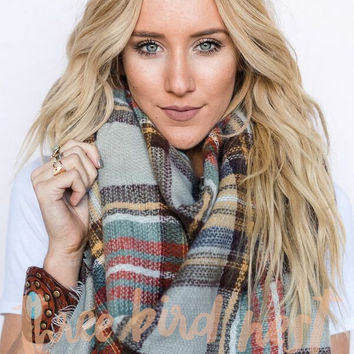 Countryside Plaid Blanket Scarf - Grey