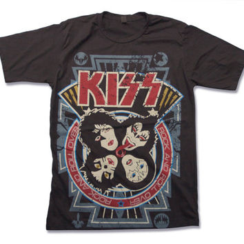Kiss Rock and Roll Over Handprint T Shirt 70s Studio Album of Heavy metal Hard Rock band Shirt Size S M L XL