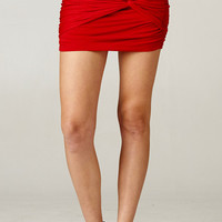 RUCHED KNOT SKIRT - RED