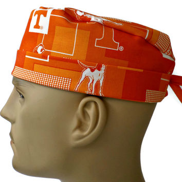 Men's Adjustable Cuffed or Un-Cuffed Surgical Scrub Hat Cap in Tennessee Volunteers New Block