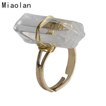 Rock Crystal Ring 2016 New Arrival Adjustable Size Natural Stone Rings for Women Jewelry