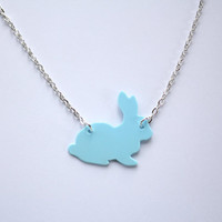 Pastel Blue Handmade Bunny Rabbit necklace, designed and carefully cut by hand- in black and pastel colours for spring  and easter time