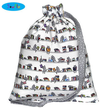 NEW! Knitting Project Bag-Cats Knitting Bag-Reading Drawstring Bag-Books Knitting Bag