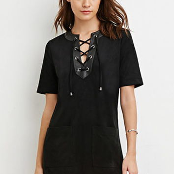 Faux Suede Lace-Up Shift Dress