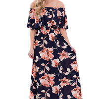 Navy Blue Boho Vibe Floral Print Off Shoulder Maxi Dress