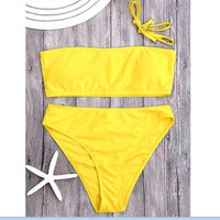 Hot Sexy pure color strapless off shoulder two piece bikini high waist yellow