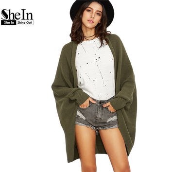 SheIn Autumn Casual Sweater Olive Green Batwing Sleeve Shawl Collar Open Front Cocoon Cardigan Loose Female Coat Outwear