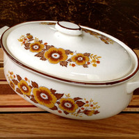 Floral Casserole Dish Vintage Country Ceramic