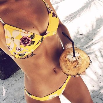 Flower Print Strap Beach Bikini Set Swimsuit Swimwear