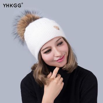 DCCKWQA Apparel Accessories Winter Red Removable Fox Bobble Hat For Women Warm Knitted Beanies With Fur Pom Poms.Wool Fur hat