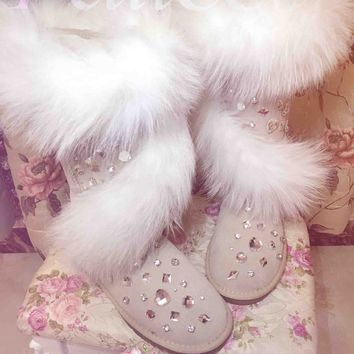 Luxury Handmade Gemstone Rhinestone Studded Australia Boots Furs Fox Cross High Shoe Bling Winter Leather Snow Boots Casual