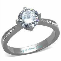 A Perfect 1.7CT Round Diamond Cut Russian Lab Diamond Promise Engagement Anniversary Wedding Ring