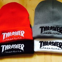Winter Unisex Thrasher Embroidery Knit Beanies Hat