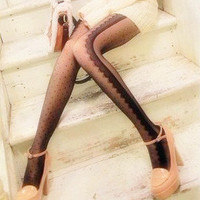 Sexy summer — Retro cute side of the the eyelash lace little bit of stockings pantyhose