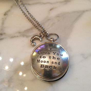 Working Compass Necklace I Love You to the Moon and Back