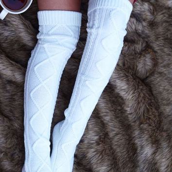 Thigh High Cable Knit Socks- Ivory